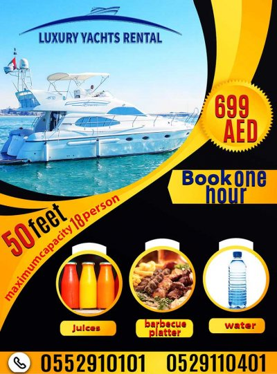 Book Yacht get free Barbecue plate, juices and water